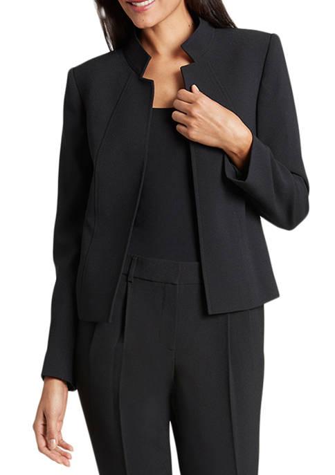 Tahari ASL Womens Stand Collar Crepe Jacket