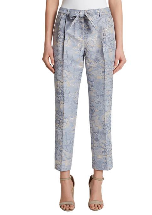 Womens Metallic Jacquard Slim Pants