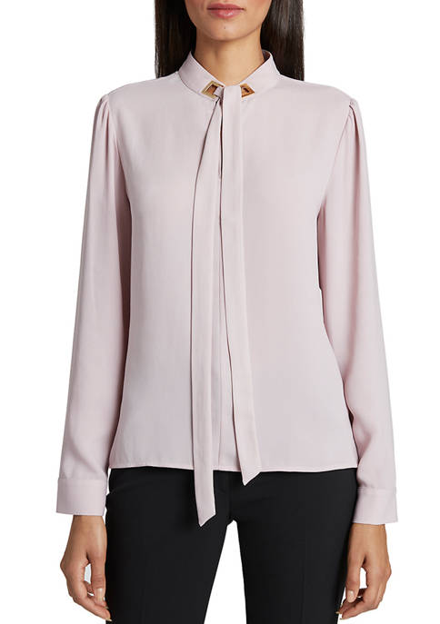 Womens Long Sleeve Tie Neck Blouse
