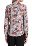 Womens Floral Bow Blouse