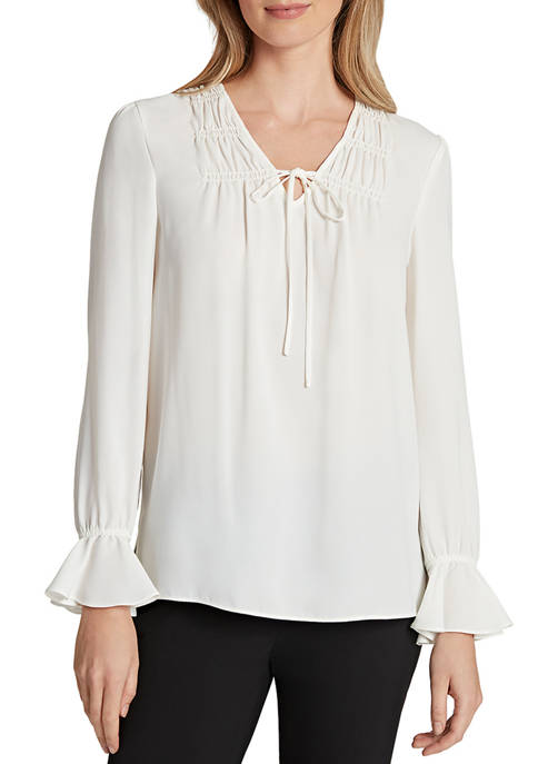Womens Tie Neck Pleated Blouse