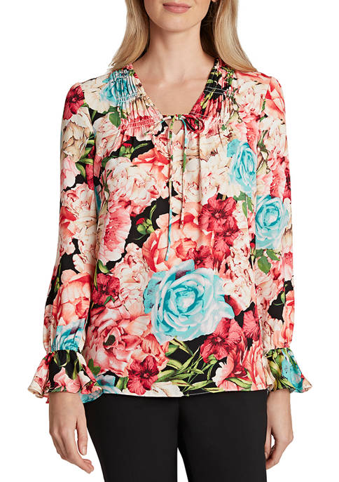 Womens Bell Sleeve Floral Blouse
