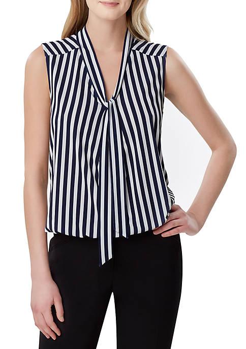 Tahari ASL Sleeveless Stripe Tie Neck Top