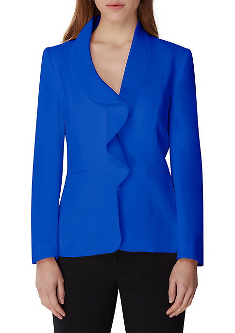 Ruffled Lapel One Button Jacket