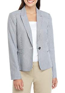 Tahari ASL One Button Seersucker Jacket