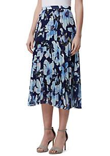 Tahari ASL Long Floral Pleated Skirt