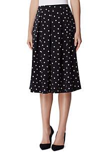 Tahari ASL Pleated Polka Dot Skirt