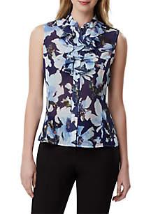 5a6360c3d5d46 Tahari ASL Cap Sleeve Contrast Tie Neck Top · Tahari ASL Sleeveless Ruffled  Floral Blouse