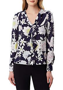 Tahari ASL Long Sleeve Floral Blouse