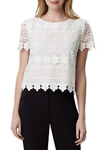 Tahari ASL Short Sleeve Crochet Lace Top