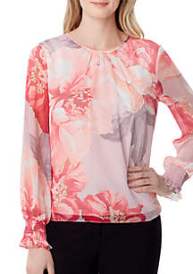 Tahari ASL Long Sleeve Floral Chiffon Top