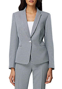 Tahari ASL 1 Button Houndstooth Jacket
