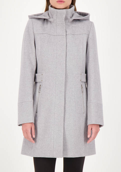 Womens Zip Front Hooded Wool Coat