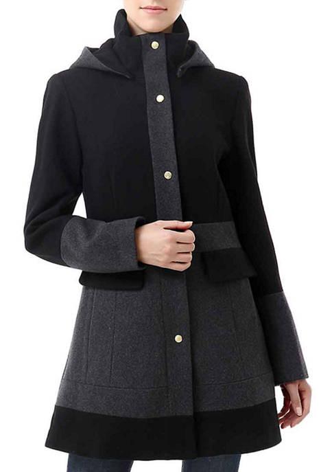 Womens Colorblock Wool Hooded Coat