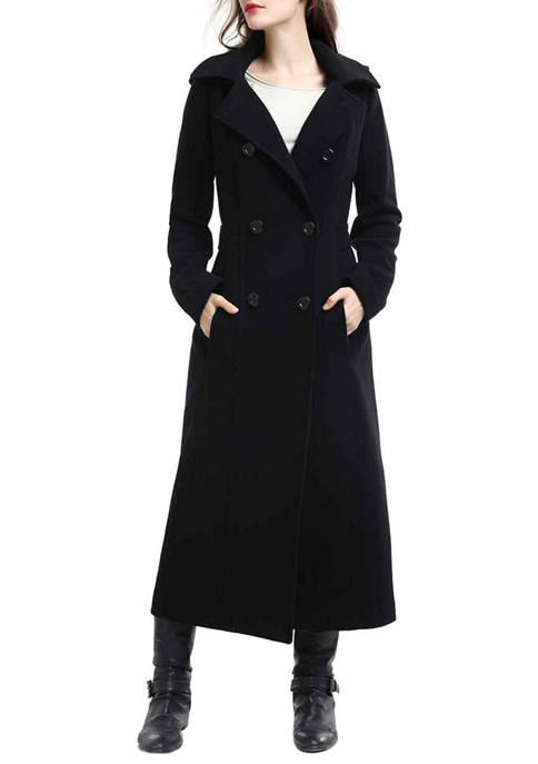 Womens Long Hooded Wool Walking Coat