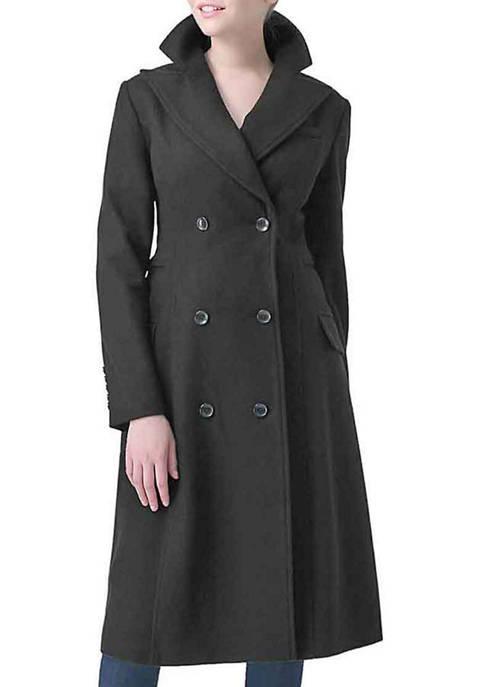 Womens Double Breasted Long Wool Blend Walking Coat