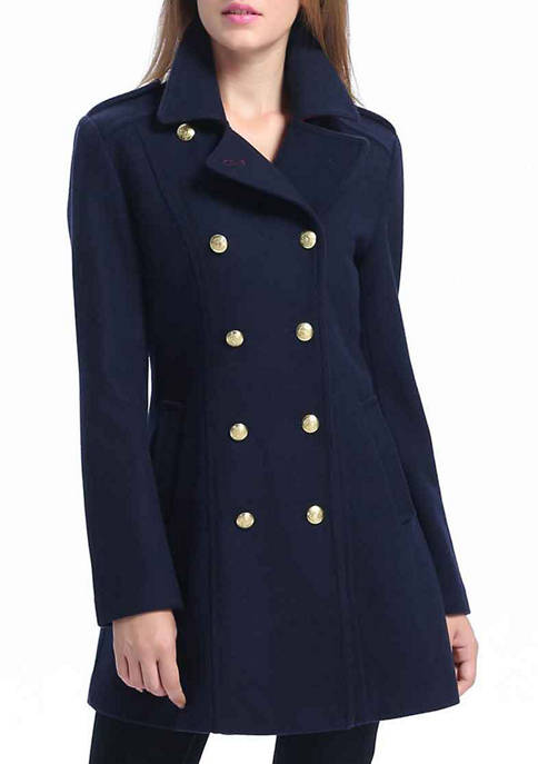 Womens Fitted Wool Blend Pea Coat