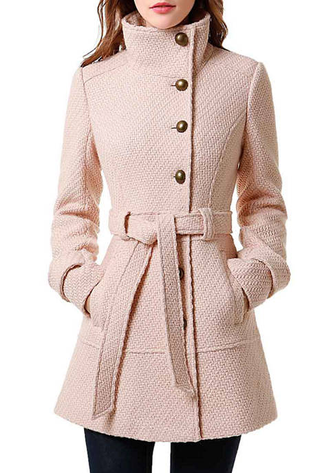 Kimi & Kai Womens Belted Wool Blend Boucle