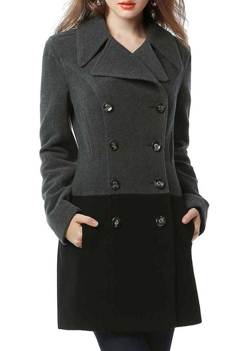 Womens Colorblock Wool Blended Pea Coat