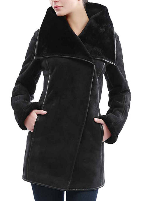 Kimi & Kai Womens Heidi Faux Shearling Coat