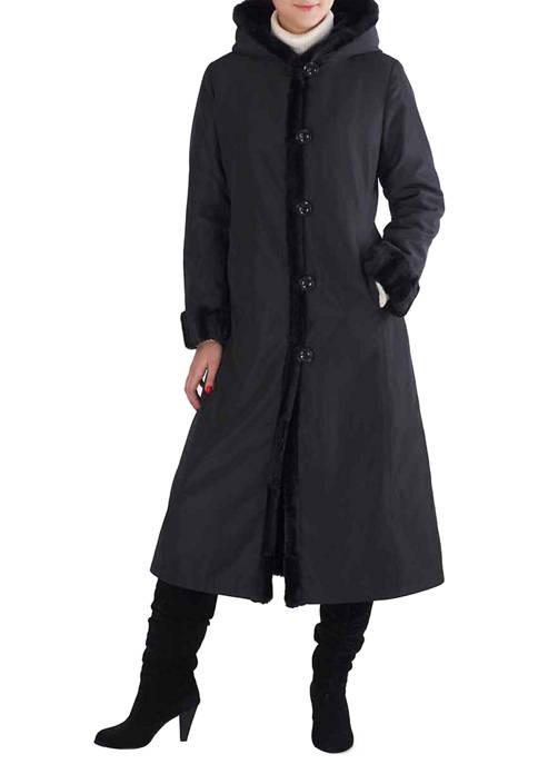 Womens Lorraine Reversible Faux Mink Fur Hooded Maxi Coat
