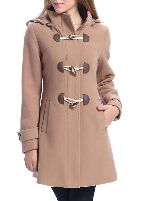 Womens Daisy Hooded Wool Toggle Coat