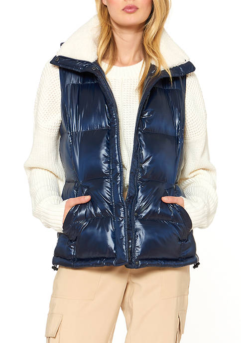 25 Inch Zip Front Cire Faux Down Vest with Sherpa Trimmed Hood