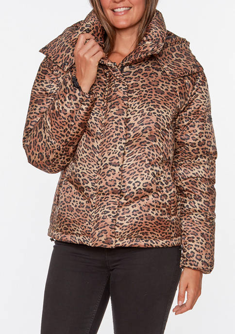 Womens Printed Stretch Puffer Jacket