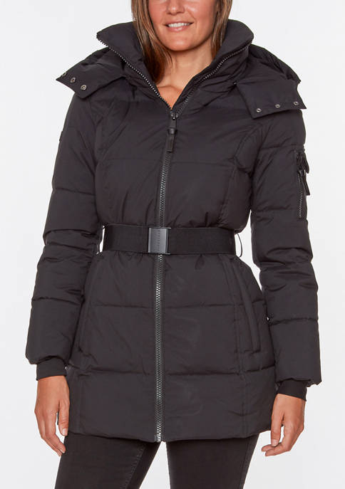 Womens Belted Puffer Jacket
