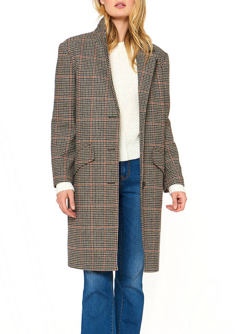 38 Inch Button Front Houndstooth Plaid Wool Blend Walking Coat