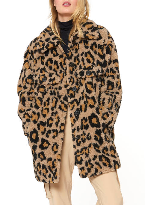 32 Inch Faux Fur Leopard Jacket with Hook and Eye Closures