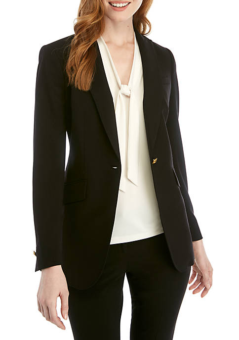 Anne Klein 1 Button Long Peak Lapel Jacket