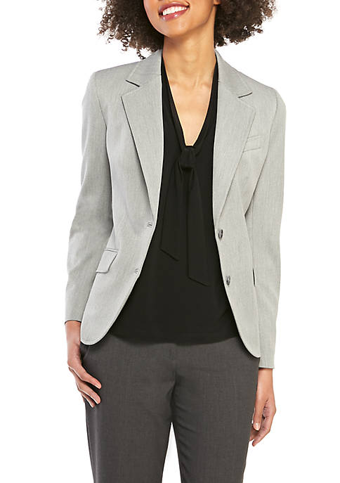 Anne Klein 2 Button Notch Collar Stretch Twill