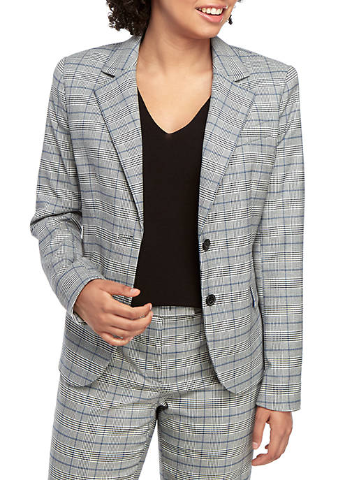 Anne Klein 2 Button Glen Plaid Jacket