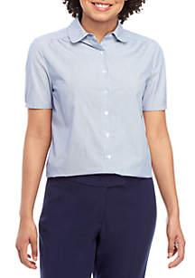 Anne Klein Cap Sleeve Stripe Button Front Blouse