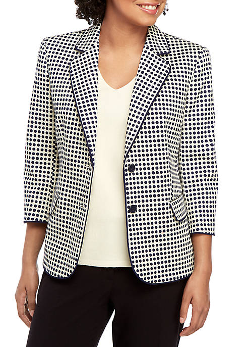 Anne Klein 2 Button Dot Pique Jacket