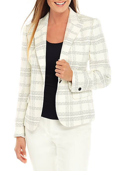 Anne Klein Novelty Plaid Jacket