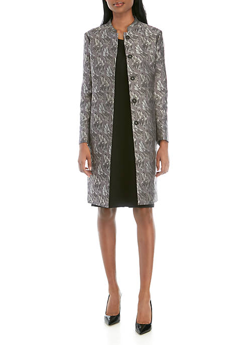 Anne Klein Jacquard Collarless Piped Topper