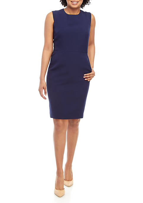 Crepe Sheath Dress with Extended Shoulder