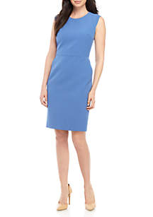 Anne Klein Crepe Sheath Dress with Extended Shoulder