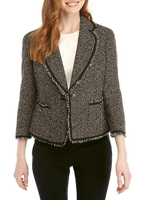 Anne Klein Bouclé Patch Pocket Jacket with Fringe