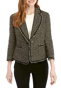 Anne Klein Bouclé Patch Pocket Jacket with Fringe Detail
