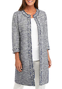 Anne Klein 3/4 Sleeve Tweed Fringe Topper