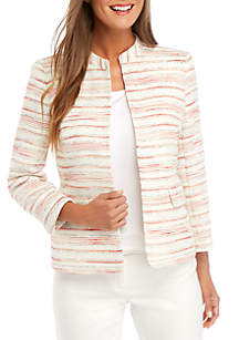 Anne Klein Stripe Tweed Mandarin Collar Jacket