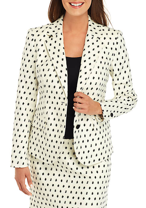 Anne Klein 2 Button Clip Dot Jacket
