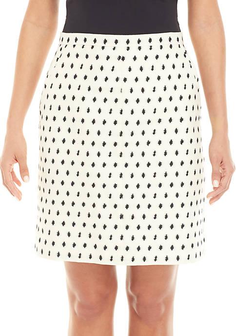 Anne Klein Clip Dot Jacquard Skirt