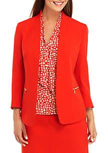 Anne Klein Crepe Zip Jacket