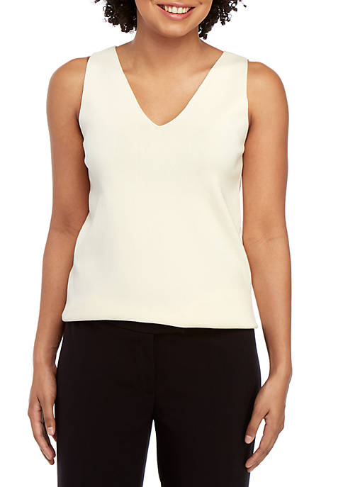 Double V Neck Sweater Tank Top