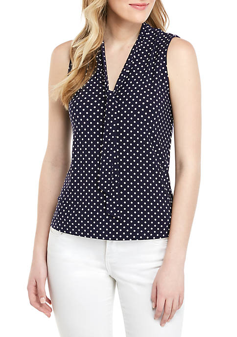 Anne Klein ITY Dot Tie Neck Blouse