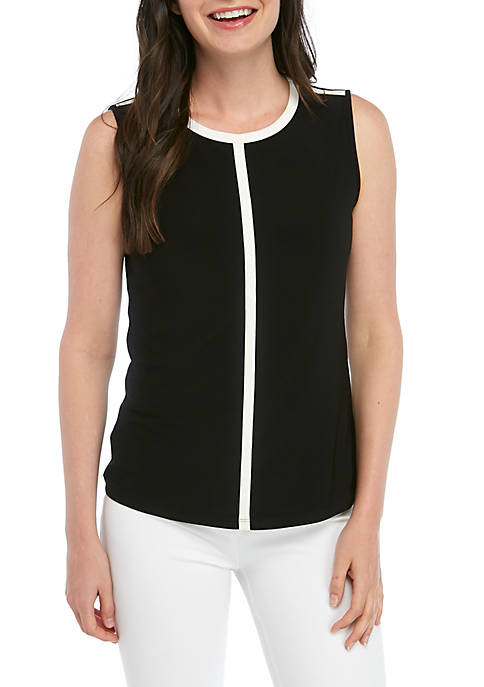 Anne Klein ITY Piped Crew Neck Top